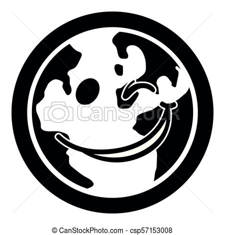 450x470 Isolated Happy Globe Silhouette. Vector Illustration Design Vector