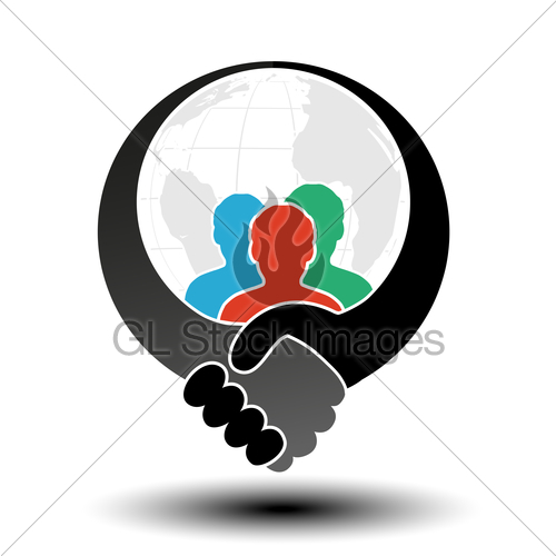 500x500 Vector Community Symbol With Handshake Symbol. Simple Sil Gl