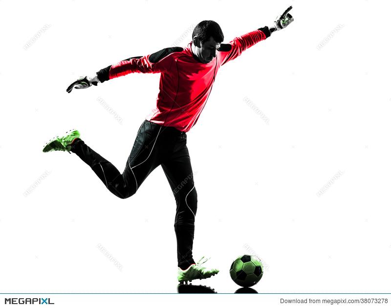 800x629 Caucasian Soccer Player Goalkeeper Man Kicking Ball Silhouette