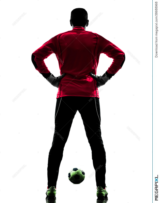 629x800 Soccer Player Goalkeeper Man Rear View Silhouette Stock Photo