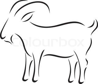 320x275 Black Silhouette Of Goat Stock Vector Colourbox
