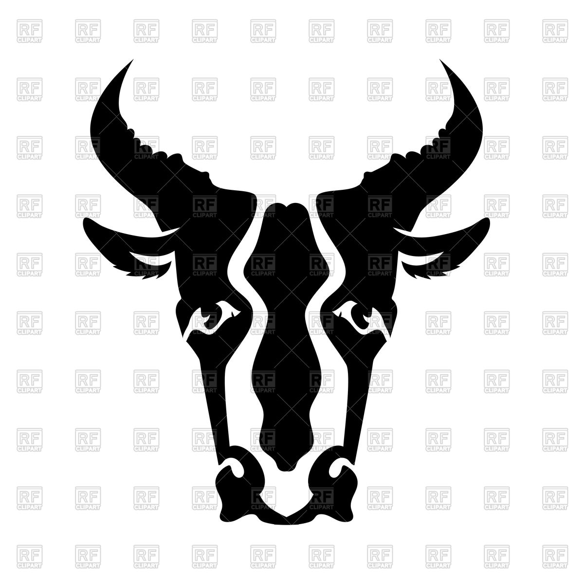 1200x1200 Bull Head Silhouette Isolated On A White Background Royalty Free