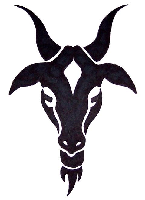 479x661 Classic Black Ink Goat Head Tattoo Design