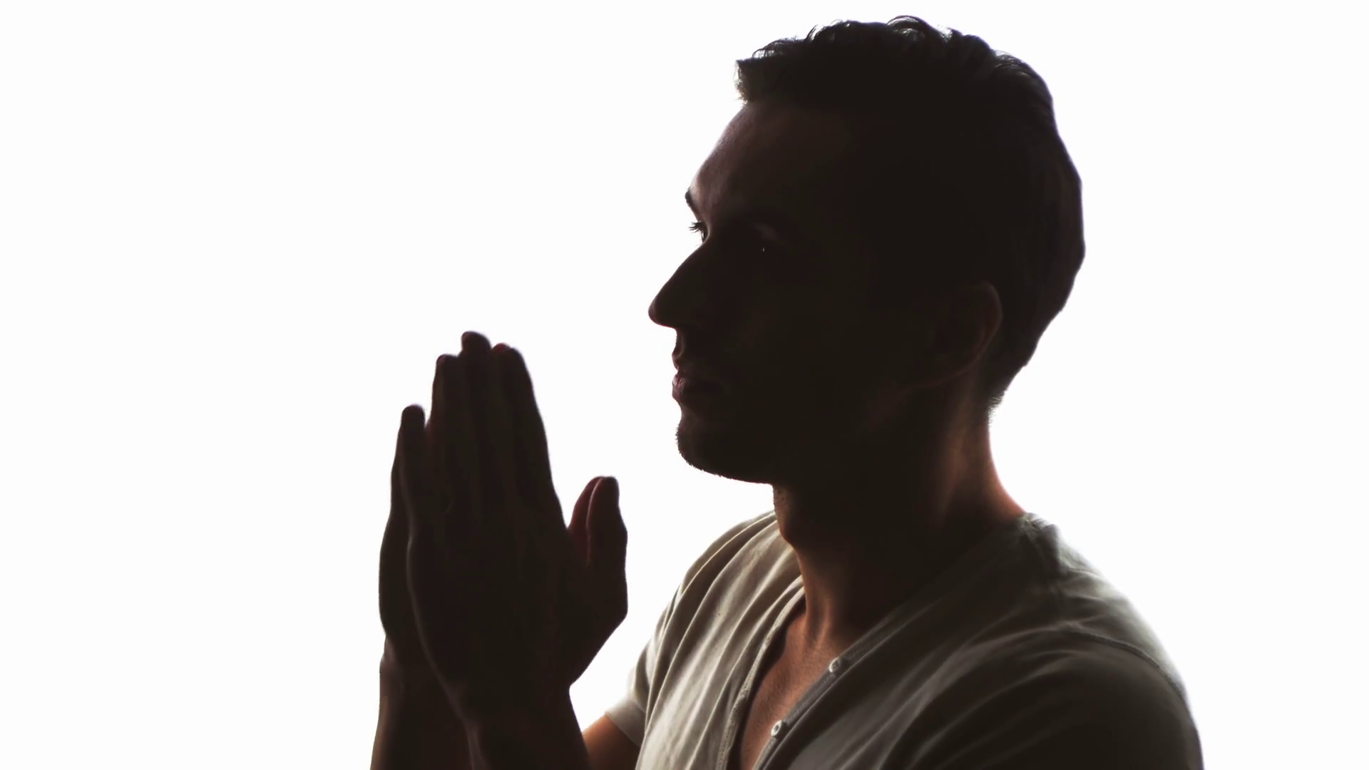 1920x1080 Silhouette Of A Man Praying To God. Concept Of Faith And Religion