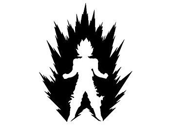 355x267 Dbz 5.5 Tall Goku Power Up Silhouette Die Cut Decal