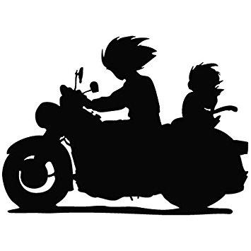355x355 Dbz Tv Series Goku Gohan Riding Motorcycle Silhouette