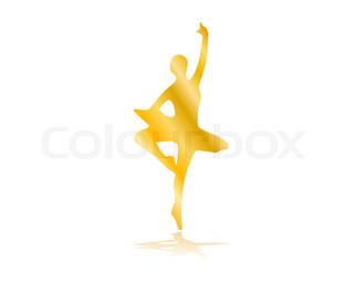 320x256 Girl Ballerina Silhouette Dance Ballet. Vector Illustration