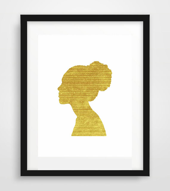 570x642 Gold Leaf Woman,gold Silhouette, Digital Art, Home Decor,gold