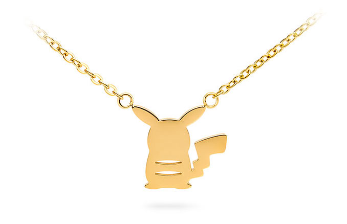 678x438 Pikachu Gold Back Silhouette Pendant Necklace