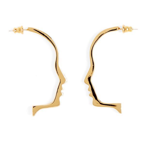 600x600 Silhouette Earring In Gold Lady Grey