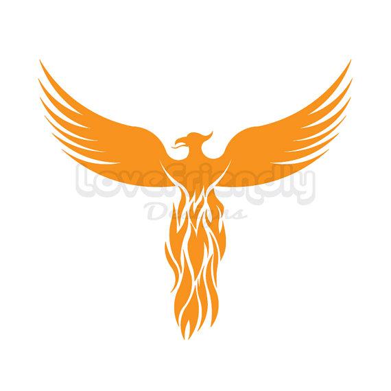 570x570 Clipart Gold Phoenix Bird Instant Download. For Cricut, Silhouette