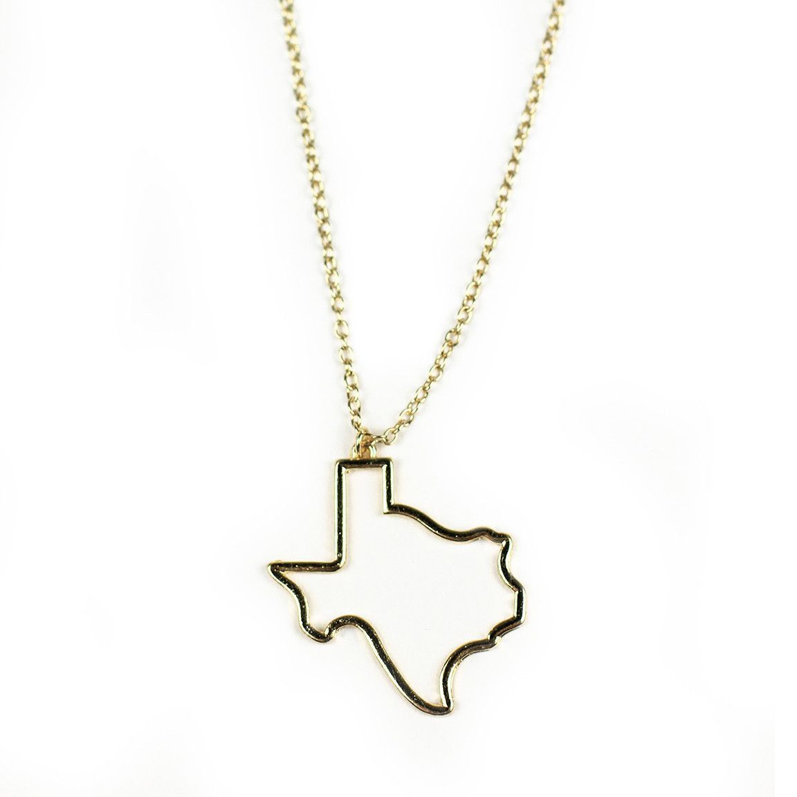 1152x1152 Country Club Prep Texas Silhouette Necklace In Gold