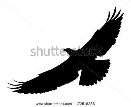 450x369 Vector Silhouette Of The Bird Of Prey (Osprey) In Flight