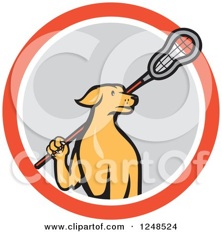 450x470 Cartoon Of A Retro Orange Dog Carrying A Lacrosse Stick