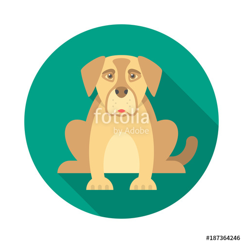 500x500 Dog Circle Icon With Long Shadow. Flat Design Style. Dog Simple
