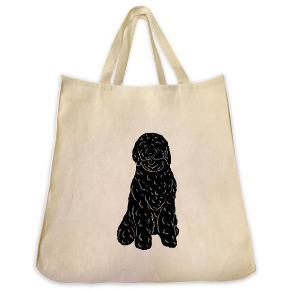 600x600 Goldendoodle Silhouette Full Body Design Large Cotton Canvas Tote