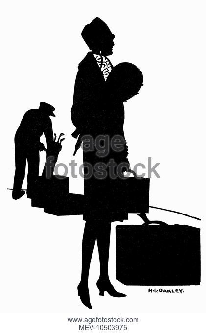 421x680 Silhouette Of A Woman With Suitcase, Stock Photo, Picture