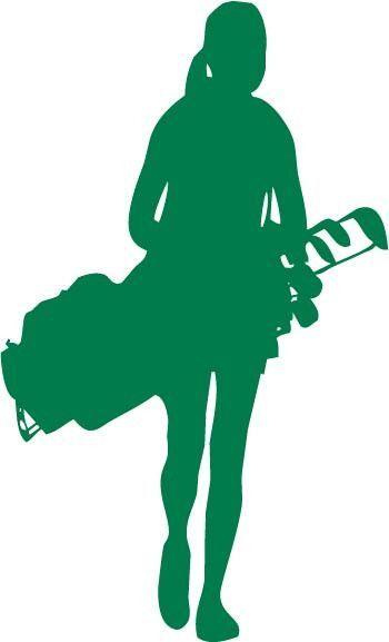 350x577 Female Golfer Carrying A Golf Club Bag Vinyl Car Decal Sticker