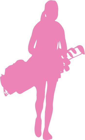 350x577 Female Golfer Carrying Golf Club Bag Vinyl Car Decal Sticker