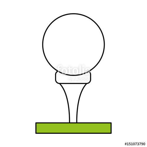 500x500 Color Silhouette Cartoon Golf Ball On Tee In Grass Vector