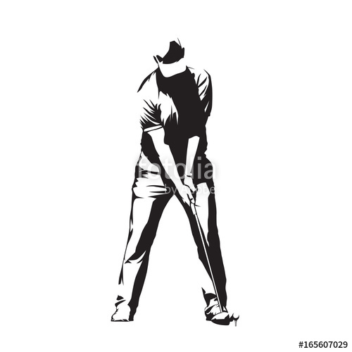 500x500 Golf Player Standing And Preparing For Golf Swing Ball, Abstract