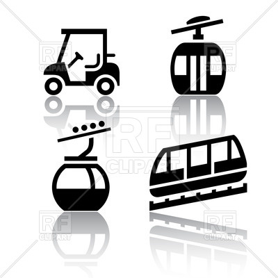 400x400 Funicular (Cable Railway) And Golf Cart Royalty Free Vector Clip