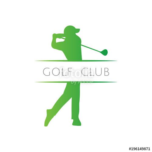 500x500 Green Golfer Swing Driver Golf Club Icon Logo Stock Image