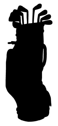 222x480 Golf Clubs Silhouette Decal Sticker