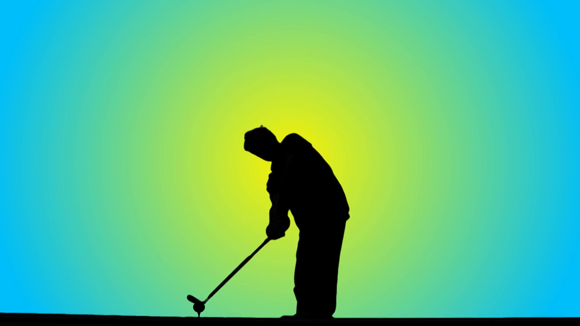 1920x1080 Golfer Silhouetted Against Bright Sun Blue Sky Abstract Background