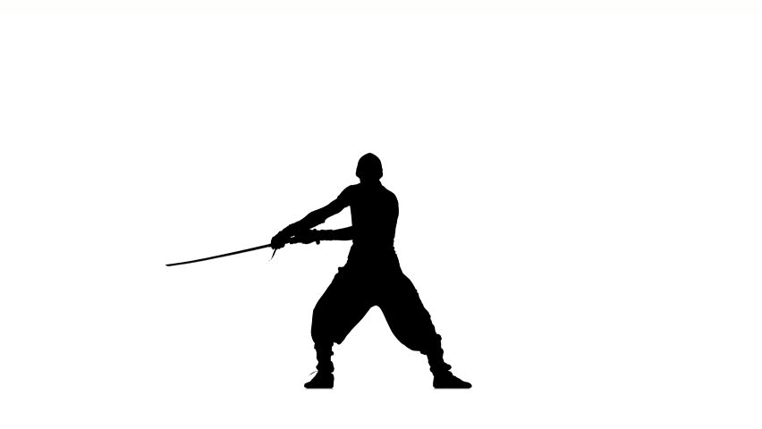 852x480 Silhouette Of Man With Sword On White Background, Martial Arts