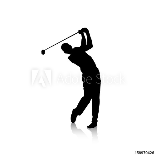 500x500 Vector Black Silhouette Of Golf