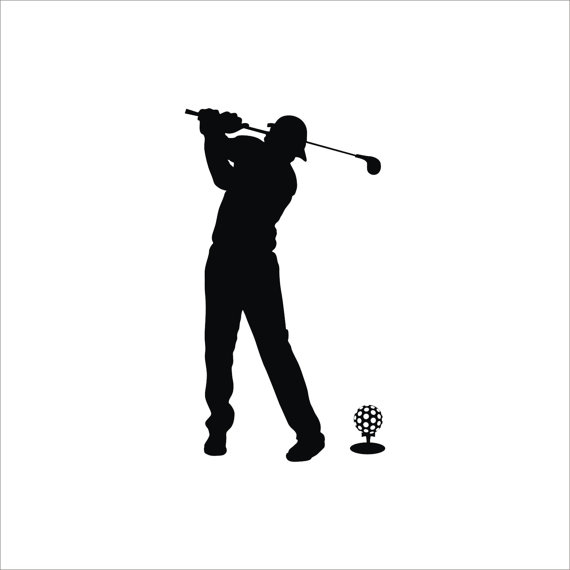 570x570 Golf Club And Ball Sport Game Man Silhouette By Vinyl2079decals