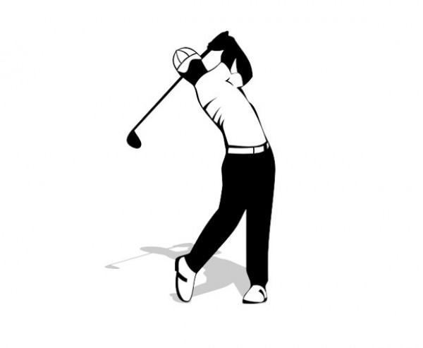 600x493 Golf Back Swing Vector Silhouette