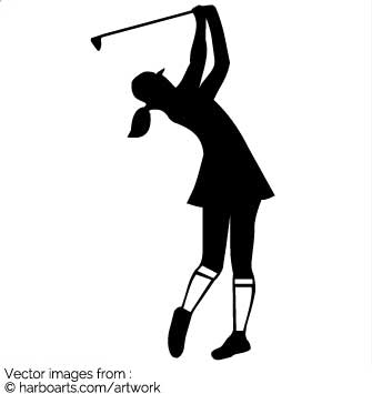 335x355 Download Girly Golfer Swing The Iron Silhouette