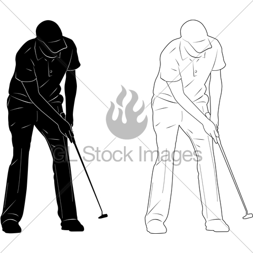500x500 Golf Player Silhouette Gl Stock Images