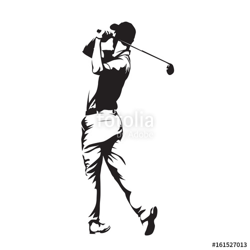 500x500 Golf Player, Abstract Vector Silhouette Stock Image And Royalty