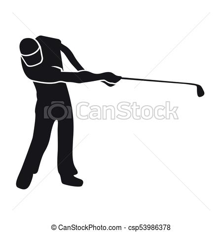 450x470 Golf Player Silhouette. Silhoutte Of A Golf Player, Vector