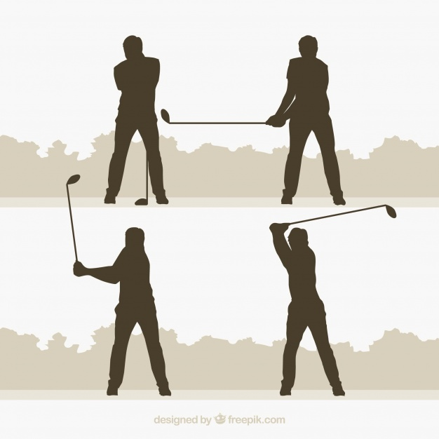 626x626 Golf Swings Collection With Silhouette In Flat Style Vector Free