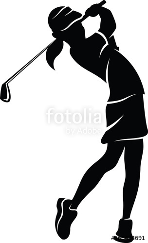 304x500 Highlighted Silhouette Of A Girl Golfer Swinging An Iron. Stock