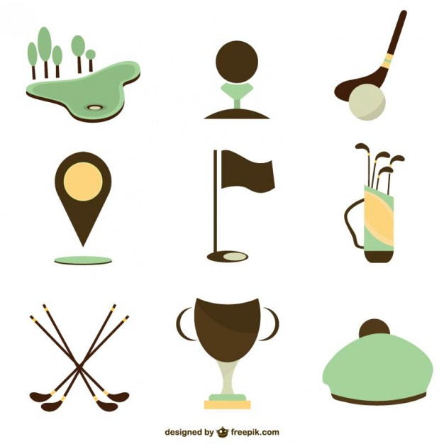 626x626 Set Of Golf Icons Vector Free Download