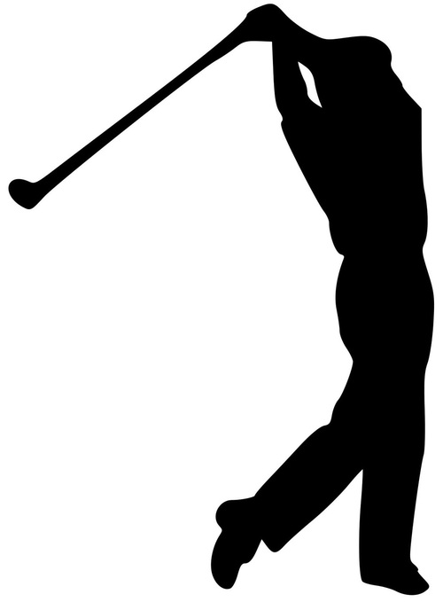 500x679 Golf Golfing Man Tee Shot Drive Swing Driver Vinyl Decal Sticker
