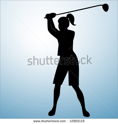 450x470 Lady Golfer Silhouette Clipart