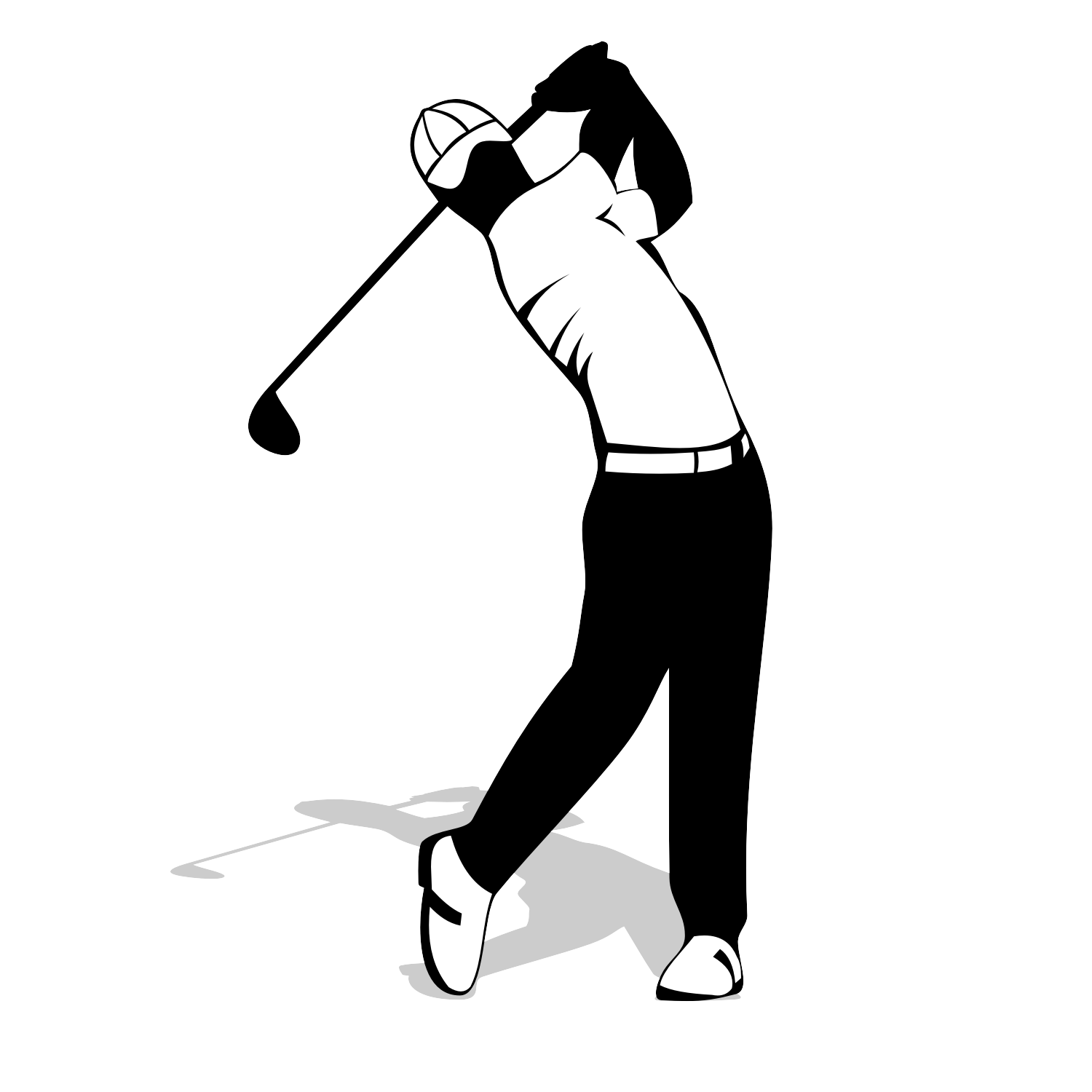 1500x1500 Lovely Golfer Silhouette Vector Free Golf Player Download