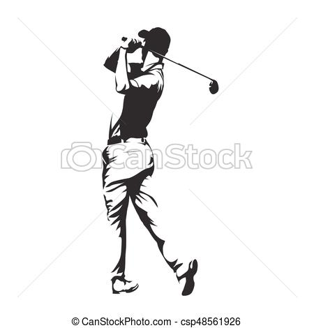 450x470 Golf Player, Abstract Vector Silhouette Vector Illustration