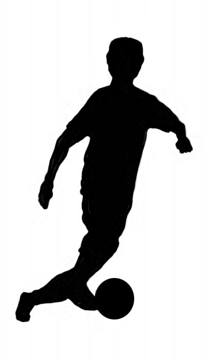 412x709 Soccer Player With Ball Black Silhouette Clipart Silhouettes
