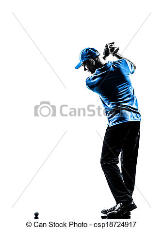 336x470 Man Golfer Golfing Golf Swing Silhouette. One Man Golfer Stock