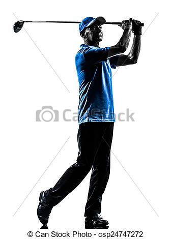 336x470 Man Golfer Golfing Silhouette. One Man Golfer Golfing