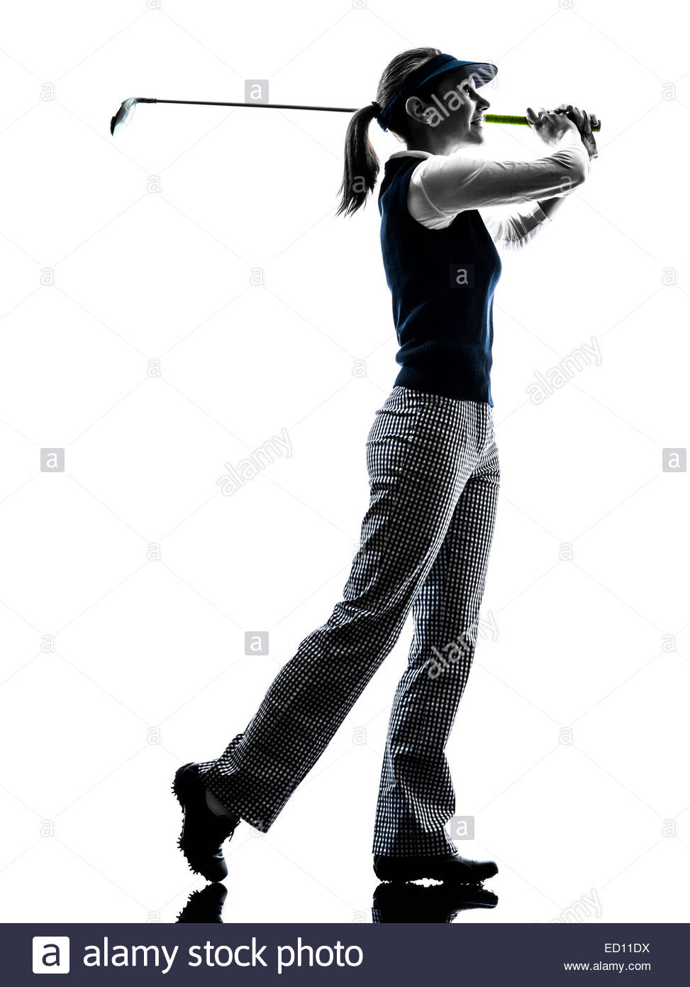 973x1390 Woman Golfer Golfing Silhouette In White Background Stock Photo