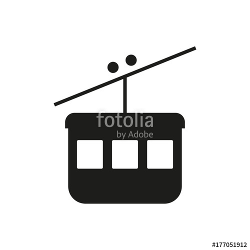 500x500 Cable Car Ski Lift Simple Icon Silhouette On White Background