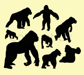 320x287 Vector Silhouette Of The Gorilla In Hutch On White Background